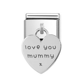 Classic Silver Love You Mummy Heart Pendant Charm