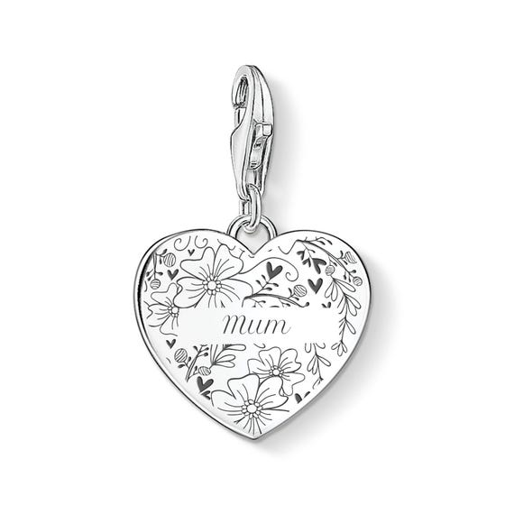 Silver Floral Name Heart Charm