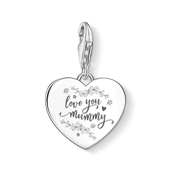 Silver Floral Love You Mummy Heart Charm