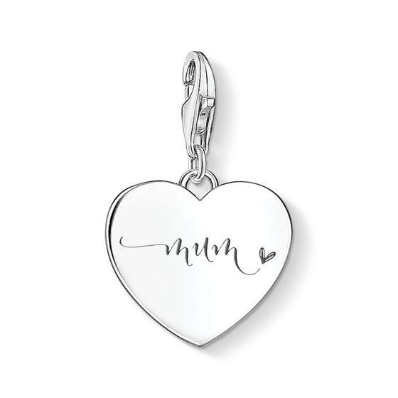 Silver Mum Script Heart Charm