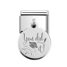 Classic Silver You Did It Round Pendant Charm