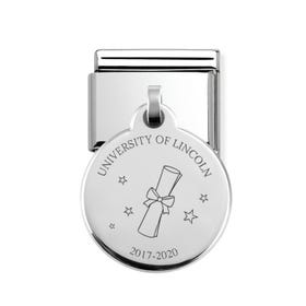 Classic Silver Personalised Graduation Scroll Round Pendant Charm