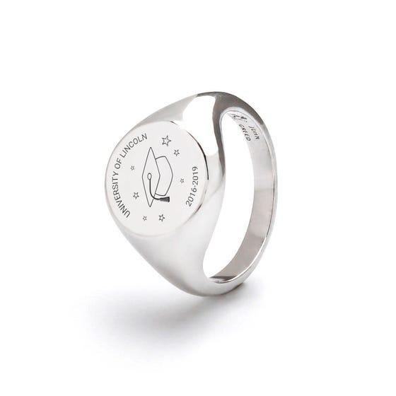 Silver Personalised Graduation Cap Signet Ring