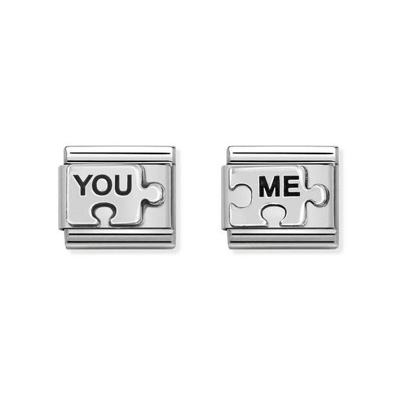 Classic Silver You & Me Puzzle Charm Set