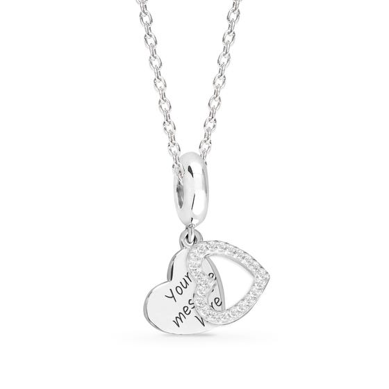 Engravable Silver CZ Heart Charm Necklace