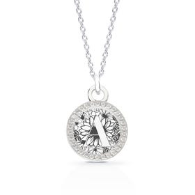 Medium Silver Engravable Disc & Halo Initial Necklace