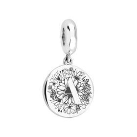 Medium Silver Floral Initial Pendant Charm