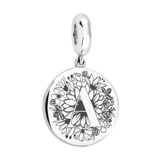 Large Silver Floral Initial Pendant Charm Fits Pandora