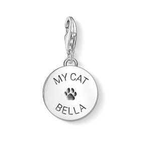 Engravable Silver Cat Paw Print Disc Charm