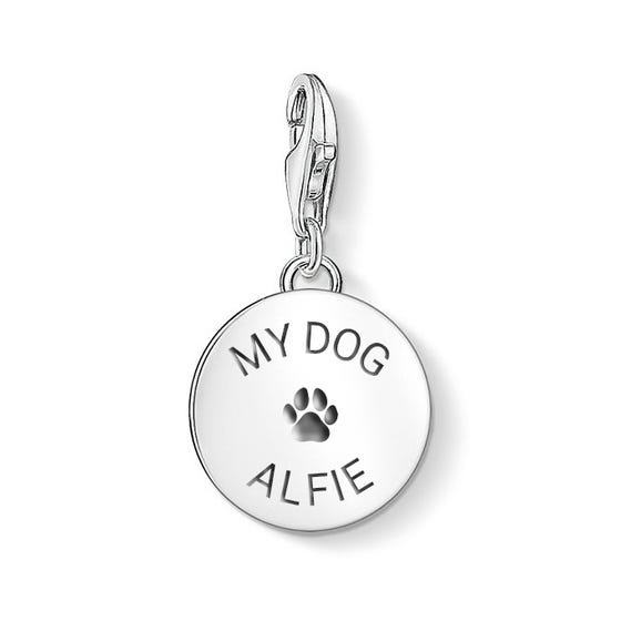 Engravable Silver Dog Paw Print Disc Charm