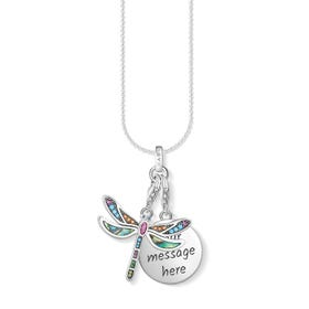 Engravable Silver Dragonfly Charm Necklace
