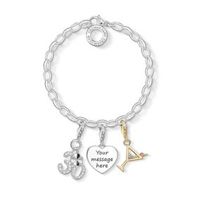 Engravable Silver & Gold Plated 30th Charm Bracelet