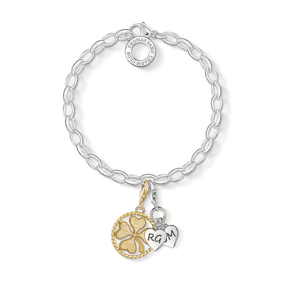 Engravable Silver & Gold Plated Lucky Hearts Charm Bracelet