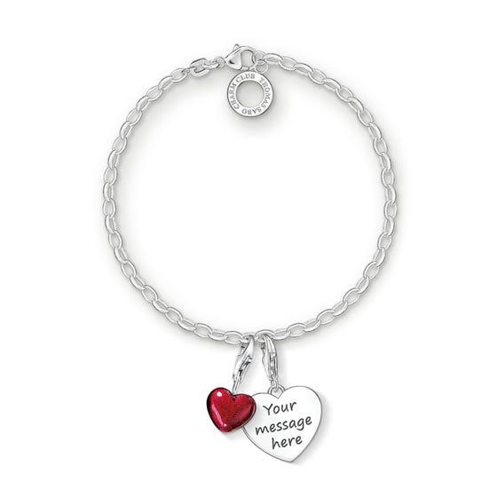 Engravable Silver Red Heart Charm Bracelet