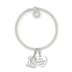 Engravable Silver 18th Charm Bracelet