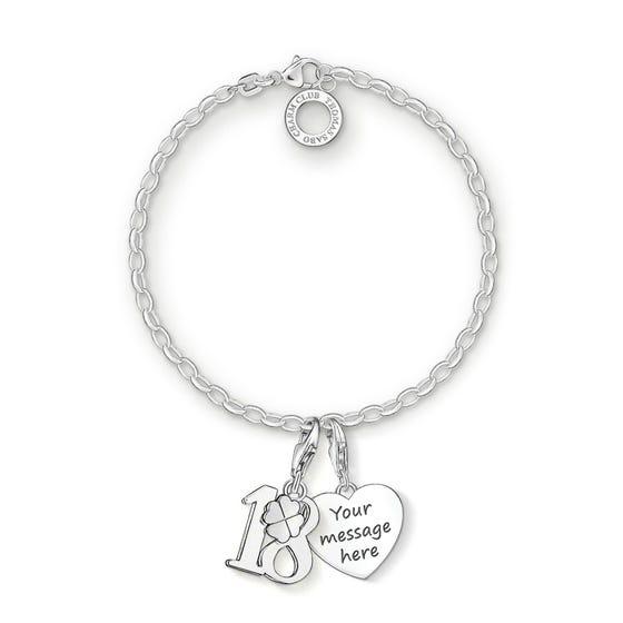 Engravable Silver 18th Charm Bracelet
