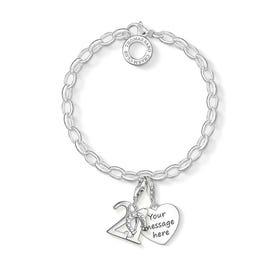 Engravable Silver 21st Charm Bracelet