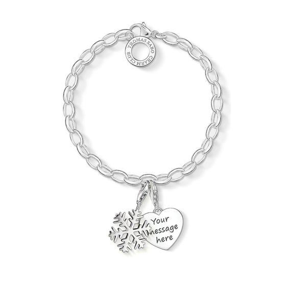 Engravable Silver Snowflake Charm Bracelet