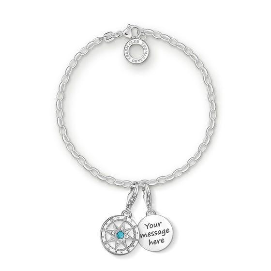 Engravable Silver Compass Charm Bracelet