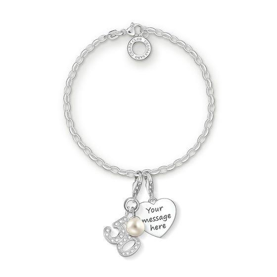 Engravable Silver 50th Charm Bracelet
