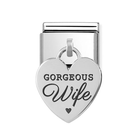 Classic Silver Gorgeous Wife Heart Pendant Charm