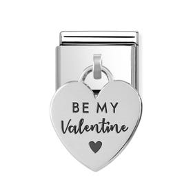 Classic Silver Be My Valentine Heart Pendant Charm