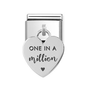 Classic Silver One in a Million Heart Pendant Charm