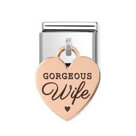 Classic Rose Gold Gorgeous Wife Heart Pendant Charm