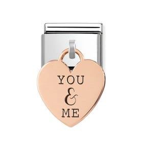 Classic Rose Gold You & Me Heart Pendant Charm