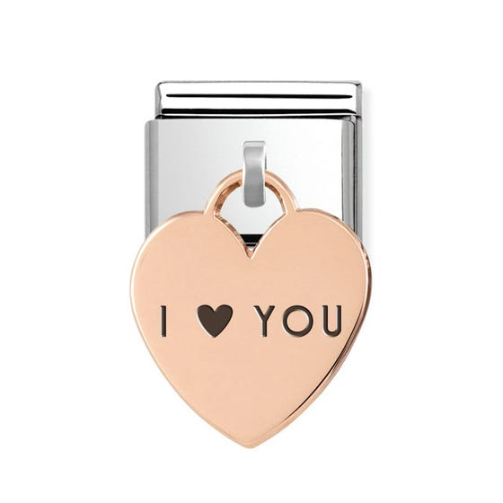Classic Rose Gold I Love You Heart Pendant Charm