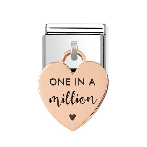 Classic Rose Gold One in a Million Heart Pendant Charm