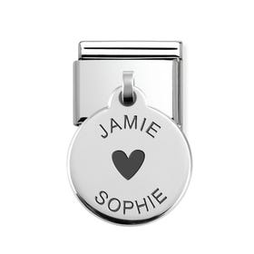 Classic Silver Two Names Round Pendant Charm