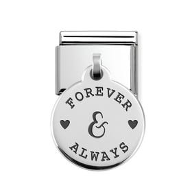 Classic Silver Forever & Always Round Pendant Charm