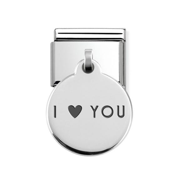 Classic Silver I Love You Round Pendant Charm