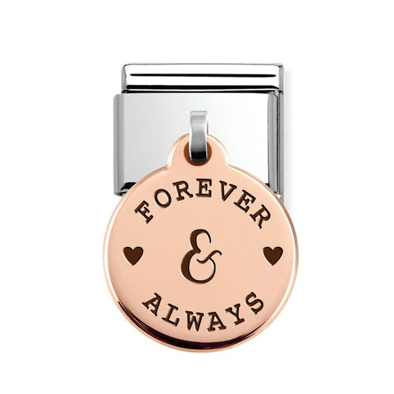 Classic Rose Gold Forever & Always Round Pendant Charm