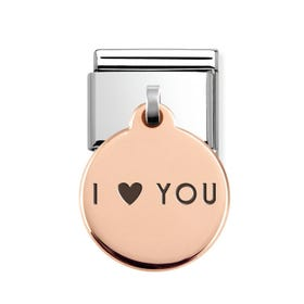 Classic Rose Gold I Love You Round Pendant Charm