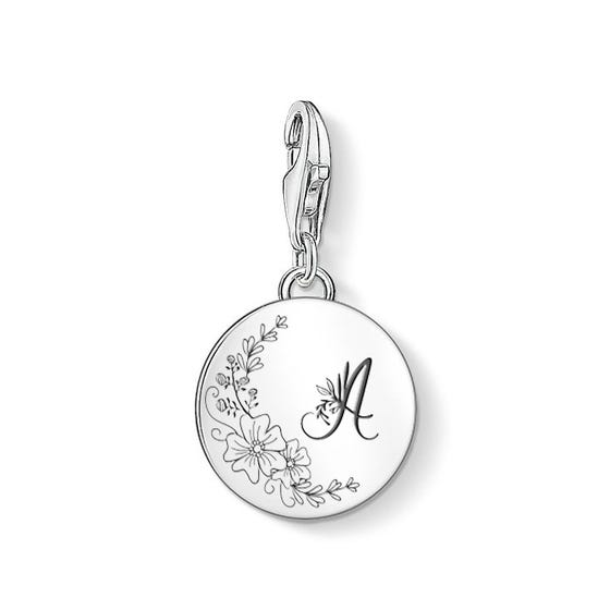 Silver Floral Initial Charm