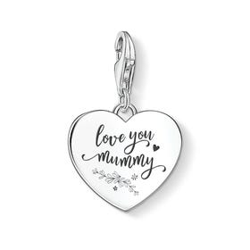 Silver Love You Mummy Heart Charm