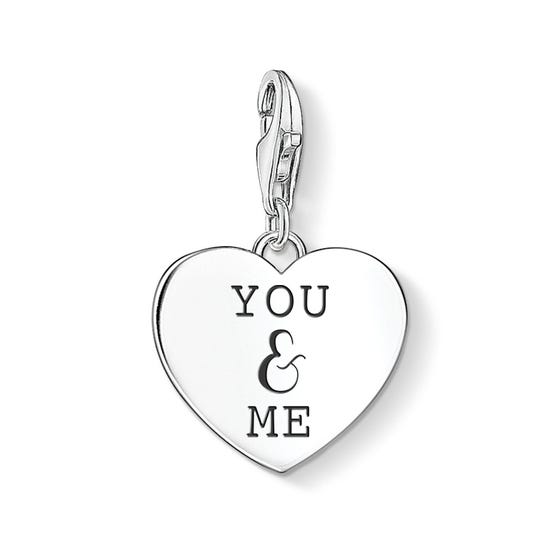 Silver You & Me Heart Charm