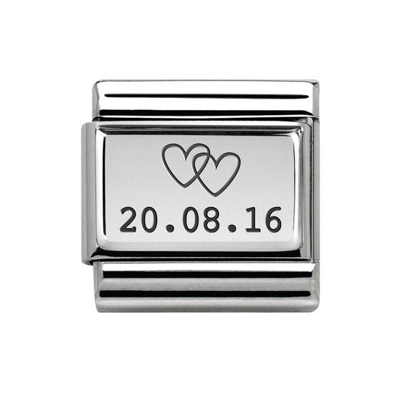 Classic Silver Date With Hearts Charm