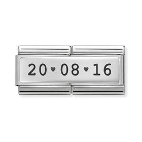 Classic Silver Date With Hearts Double Charm