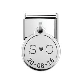 Classic Silver Initials & Date Round Pendant Charm