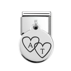 Classic Silver Heart Initials Round Pendant Charm