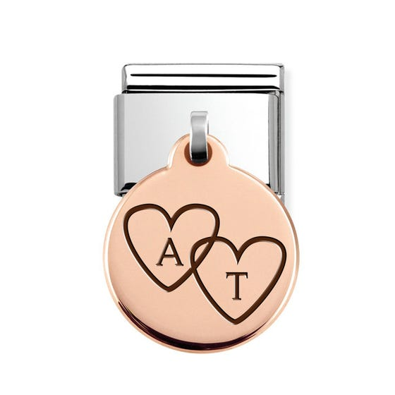Classic Rose Gold Heart Initials Round Pendant Charm