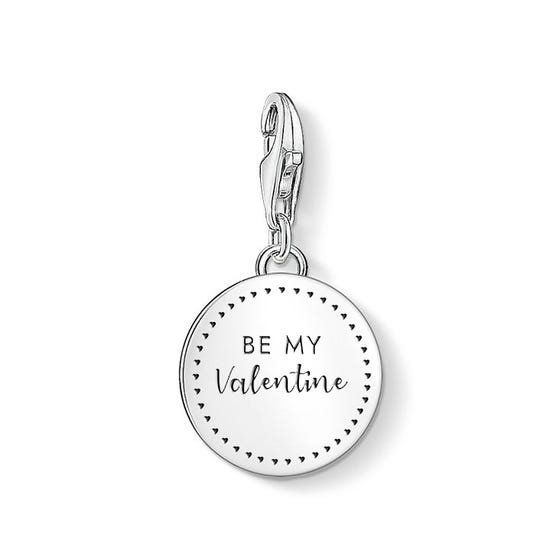 Silver Be My Valentine Disc Charm