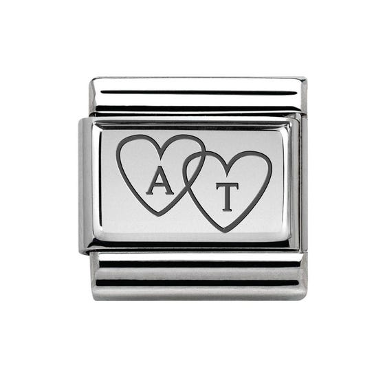 Classic Silver Heart Initials Charm