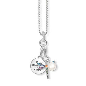 Engravable Silver & Pearl Dragonfly Charm Necklace