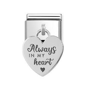 "Classic Silver ""Always in my Heart"" Heart Pendant Charm"