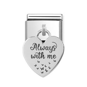Classic Silver Always With Me Heart Pendant Charm
