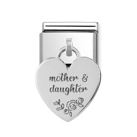 Classic Silver Mother & Daughter Floral Heart Pendant Charm